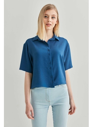Vitrin VİTRİN Yakalı Kısa Kol Crop Gömlek Saks
